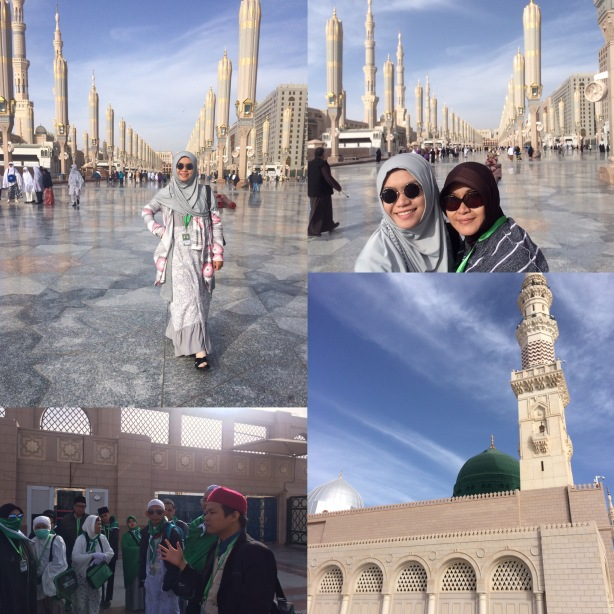Dari kiri atas ke kanan: -Bergaya ala selebgram hahaha -Foto bareng Mama -Ustadz pembimbing sedang memberikan guide di makam Baqi -Kubah hijau dan kubah silver, di antara keduanya adalah raudhah