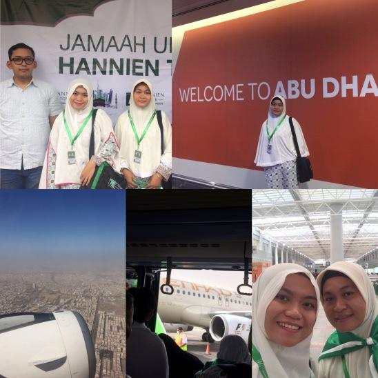 Dari kiri atas ke kanan: -Pas keberangkatan -Transit di Abu Dhabi -Pemandangan dari pesawat...gak kayak Indonesia yang hijau...ini pasir semua tandus hehe>.< -Etihad -Sampai di Bandara King Abdul Aziz, Jeddah