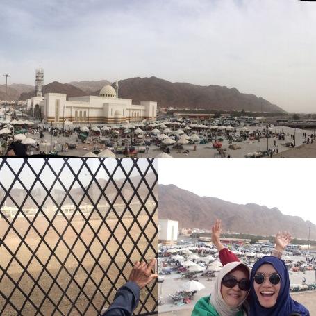 Dari atas, kanan, ke kiri: -Pegunungan Uhud, area perang dibangun Masjid, pemukiman dan pasar -Makam para syuhada Uhud -aku dan Mama