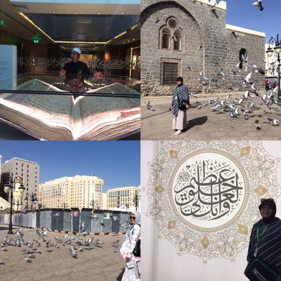 dari kiri atas ke kanan bawah: -Quran terbesar di dunia -Mama di antara merpati di Masjid Ghamamah -Aku...ngejar merpati. Merpatinya gak mau foto bareng :( -Mama di museum Quran exhibition