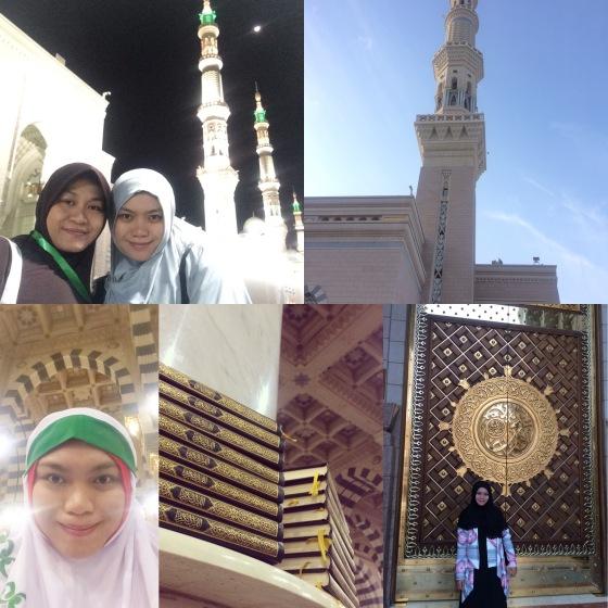 Dari kiri atas ke kanan bawah: -Foto setelah shalat pertama di Nabawi -salah satu menara Nabawi -Selfie iseng nunggu waktu shalat -Quran wakaf di Nabawi (model sama seperti di Masjidil haram) -Di depan salah satu pintu Nabawi